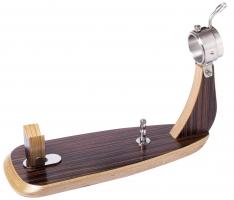 Schinkenhalter Oval Zebrano mit Saugnapf Steelblade