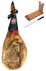 Zertifizierter Pata Negra Schinken (Vorderschinken) aus Wildpflanzenmast Revisan + Schinkenhalter + Messer
