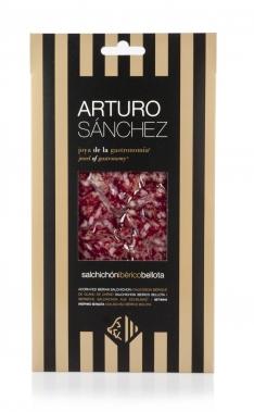 Pata Negra Salchichón Dauerwurst aus Eichelmast Gran Reserva Arturo Sánchez von Hand geschnitten